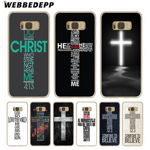 WEBBEDEPP Bible Jesus Christ Christian Cross Hard Transparent Phone Case For Galaxy S6 S7 Edge S9 S8 Plus S5 S4 S3 Cover