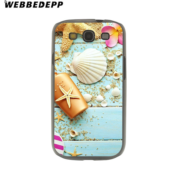 WEBBEDEPP Blue Wood Seashells Sea Star Hard Transparent Phone Case For Galaxy S6 S7 Edge S9 S8 Plus S5 S4 S3 Cover