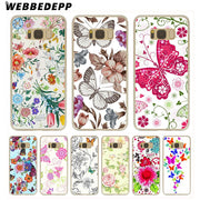 WEBBEDEPP Cute Bird Butterfly Floral Flower Hard Transparent Phone Case For Galaxy S6 S7 Edge S9 S8 Plus S5 S4 S3 Cover