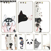 WEBBEDEPP Cute Cartoon Cat Phone Case For Huawei P20 Pro Smart P10 P9 Lite 2016/2017 P8 Lite 2015/2017 Cover
