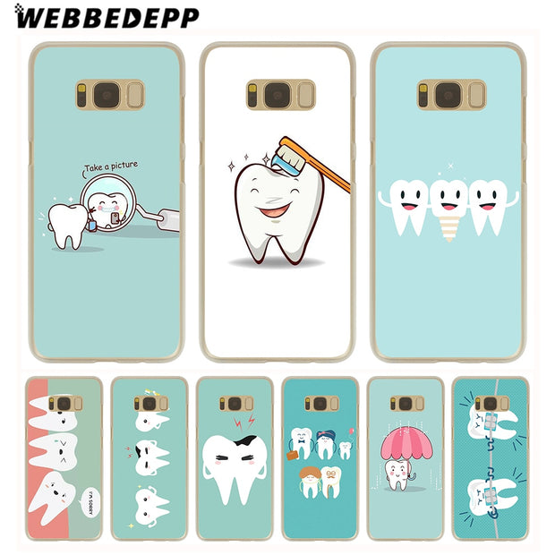 WEBBEDEPP Dentist Dental Crowned Tooth Hard Transparent Phone Case For Galaxy S6 S7 Edge S9 S8 Plus S5 S4 S3 Cover