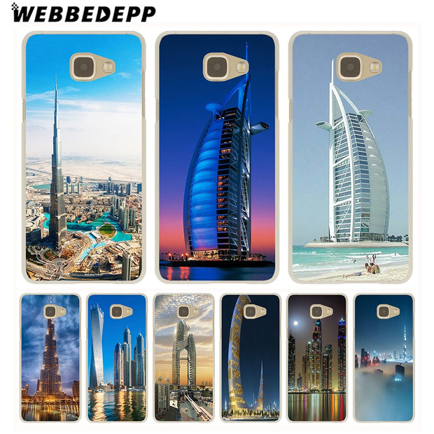 WEBBEDEPP Dubai City Architectural Landscape Hard Case For Galaxy A3 A5 2015 2016 2017 A6 A8 Plus 2018 Note 8 9 Grand Cover