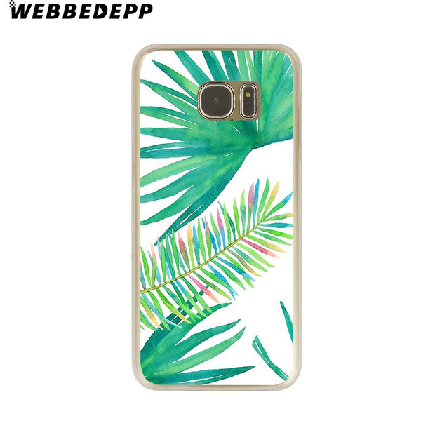 WEBBEDEPP Fashion Artistic Leaf Hard Transparent Phone Case For Galaxy S6 S7 Edge S9 S8 Plus S5 S4 S3 Cover