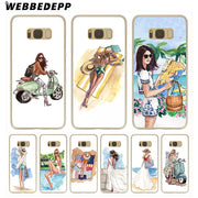 WEBBEDEPP Fashion Classy Paris Girl Summer Legs Hard Transparent Phone Case For Galaxy S6 S7 Edge S9 S8 Plus S5 S4 S3 Cover