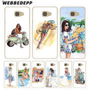 WEBBEDEPP Fashion Classy Paris Girl Summer Legs Travel Hard Case For Galaxy A3 A5 2015 2016 2017 A6 A8 Plus 2018 Note 8 9 Grand