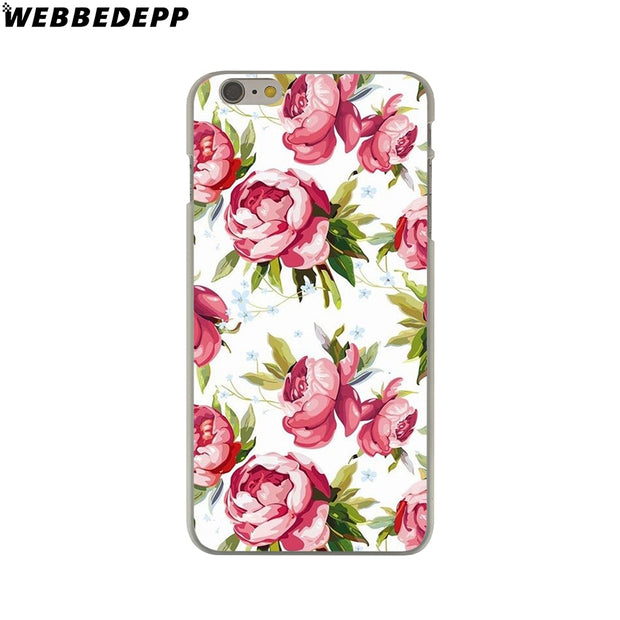 WEBBEDEPP Fashion Flower Leaves Paint Hard Phone Case For IPhone X XS Max XR 7 8 6S Plus 5 5S SE 5C 4 4S Cover