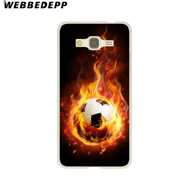 WEBBEDEPP Fire Football Soccer Ball Hard Case For Galaxy A3 A5 2015 2016 2017 A6 A8 Plus 2018 Note 8 9 Grand Cover