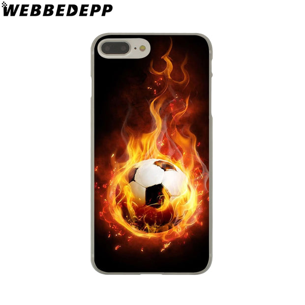 WEBBEDEPP Fire Football Soccer Ball Hard Phone Case For IPhone X XS Max XR 7 8 6S Plus 5 5S SE 5C 4 4S Cover
