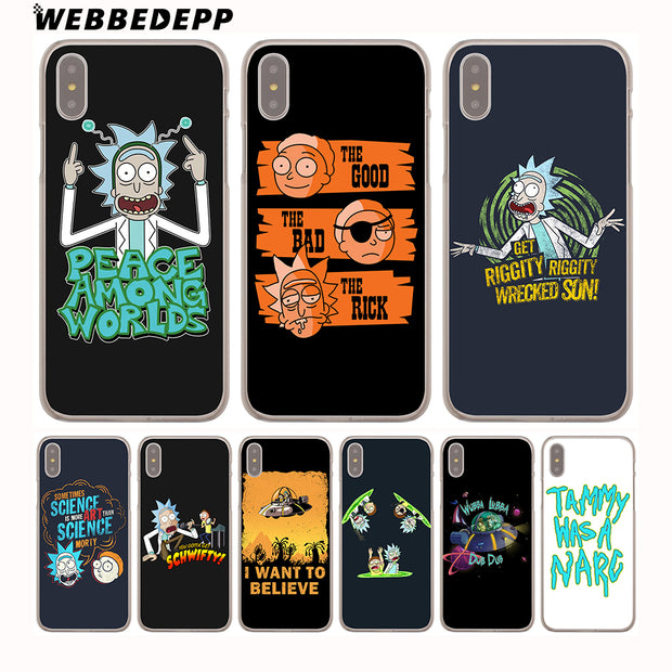 WEBBEDEPP Funny Cartoon Comic Meme Rick And Morty Hard Phone Case For IPhone X XS Max XR 7 8 6S Plus 5 5S SE 5C 4 4S Cover
