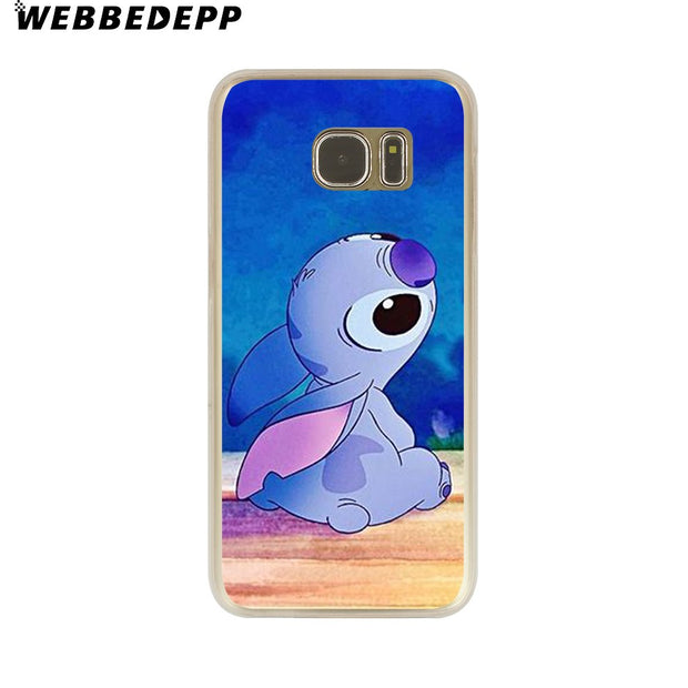 WEBBEDEPP Funny Cute Stitch Cartoon Emoji Hard Transparent Phone Case For Galaxy S6 S7 Edge S9 S8 Plus S5 S4 S3 Cover