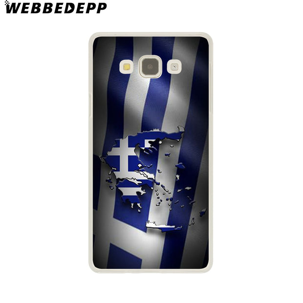 WEBBEDEPP Greek Greece Flag Hard Case For Galaxy A3 A5 2015 2016 2017 A6 A8 Plus 2018 Note 8 9 Grand Cover