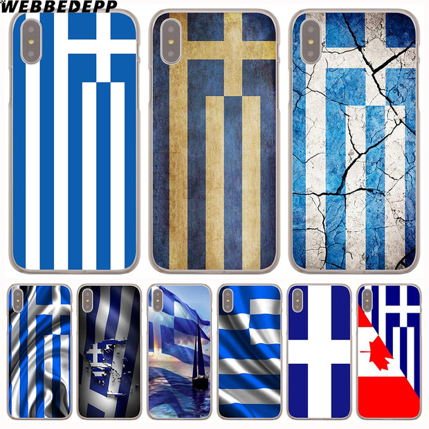 WEBBEDEPP Greek Greece Flag Hard Phone Case For IPhone X XS Max XR 7 8 6S Plus 5 5S SE 5C 4 4S Cover