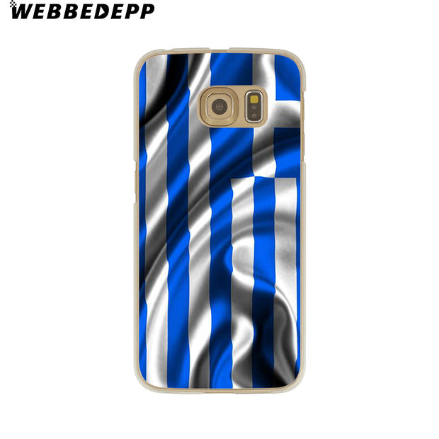 WEBBEDEPP Greek Greece Flag Hard Transparent Phone Case For Galaxy S6 S7 Edge S9 S8 Plus S5 S4 S3 Cover