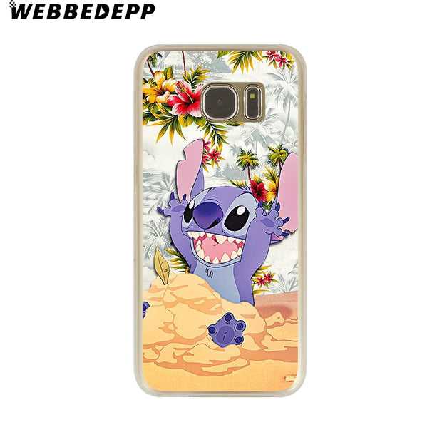 WEBBEDEPP LILO AND STITCH OHANA FAMIL Hard Transparent Phone Case For Galaxy S6 S7 Edge S9 S8 Plus S5 S4 S3 Cover