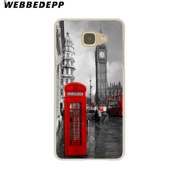 WEBBEDEPP London Style Big Ben Telephone Box Flag Hard Case For Galaxy A3 A5 2015 2016 2017 A6 A8 Plus 2018 Note 8 9 Grand