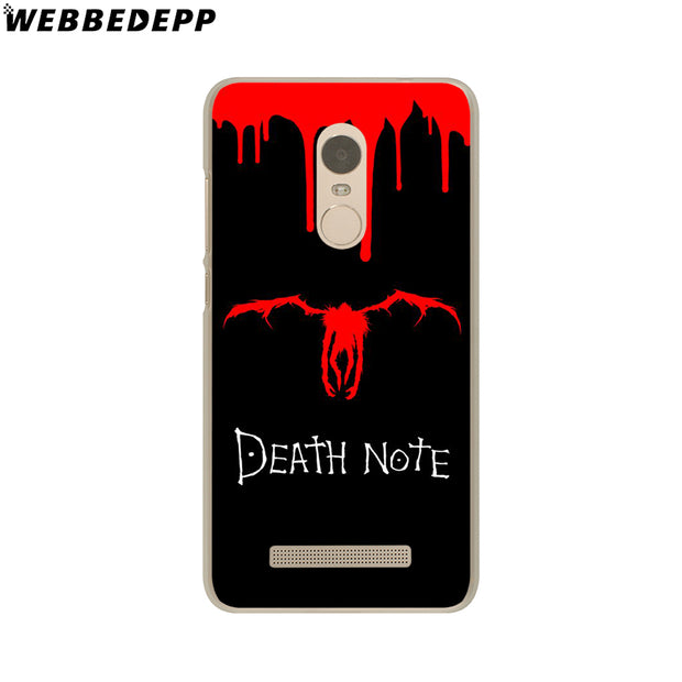 WEBBEDEPP Manga Death Note Phone Case For Xiaomi Redmi 4X 4A 5A 5 Plus 6 Pro 6A S2 Note 5 6 Pro 4X Cover