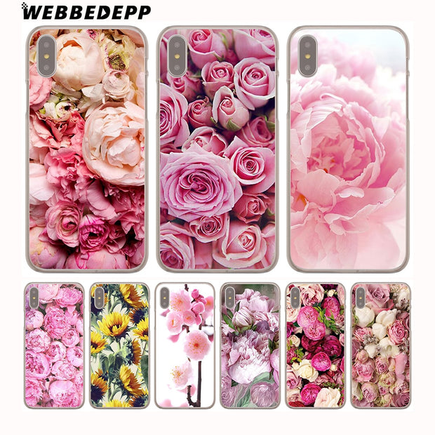 WEBBEDEPP Peony Sunflowe Rose Daisy Plants Flower Hard Phone Case For IPhone X XS Max XR 7 8 6S Plus 5 5S SE 5C 4 4S Cover