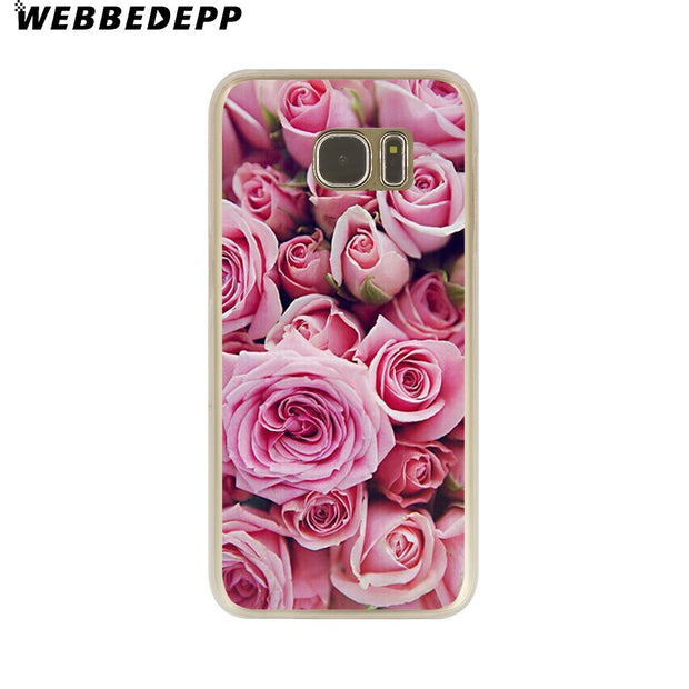 WEBBEDEPP Peony Sunflowe Rose Daisy Plants Flower Hard Transparent Phone Case For Galaxy S6 S7 Edge S9 S8 Plus S5 S4 S3 Cover