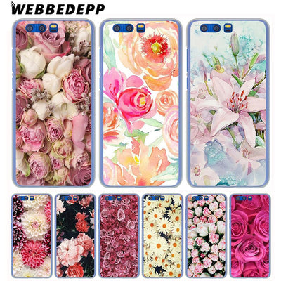 WEBBEDEPP Pink Peonies Phone Hard Case For Huawei Honor Play 9 8 10 Lite 8X 7X 6A 7A Pro 2GB 3GB Cover