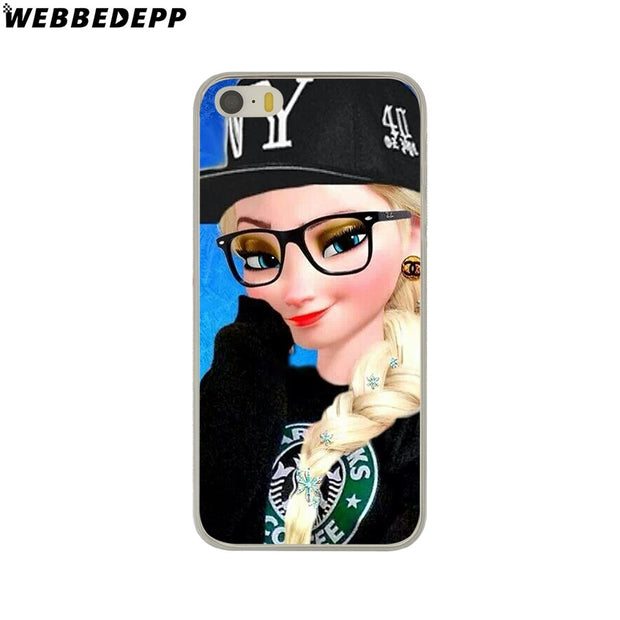 WEBBEDEPP Punk Elsa Tattoo Princess Hard Phone Case For IPhone X XS Max XR 7 8 6S Plus 5 5S SE 5C 4 4S Cover