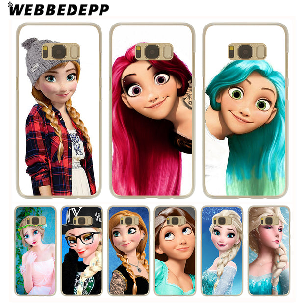 WEBBEDEPP Punk Elsa Tattoo Princess Hard Transparent Phone Case For Galaxy S6 S7 Edge S9 S8 Plus S5 S4 S3 Cover
