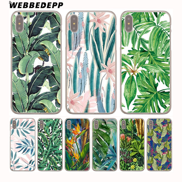 WEBBEDEPP Retro Plants Leaf Hard Phone Case For IPhone X XS Max XR 7 8 6S Plus 5 5S SE 5C 4 4S Cover