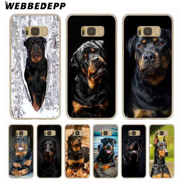 WEBBEDEPP Rottweiler Dog Hard Transparent Phone Case For Galaxy S6 S7 Edge S9 S8 Plus S5 S4 S3 Cover