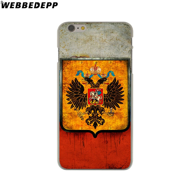 WEBBEDEPP Russian Coat Of Arms Flag Hard Phone Case For IPhone X XS Max XR 7 8 6S Plus 5 5S SE 5C 4 4S Cover