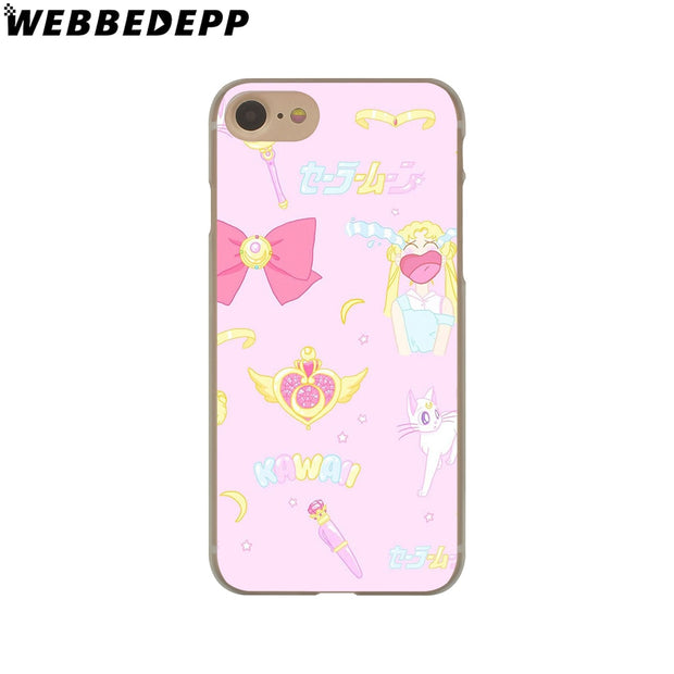 WEBBEDEPP Sailor Moon Crystal Cute Version Funny Hard Phone Case For IPhone X XS Max XR 7 8 6S Plus 5 5S SE 5C 4 4S Cover
