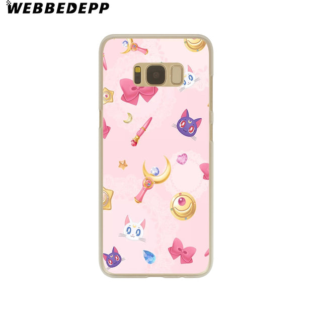 WEBBEDEPP Sailor Moon Crystal Cute Version Funny Hard Transparent Phone Case For Galaxy S6 S7 Edge S9 S8 Plus S5 S4 S3 Cover