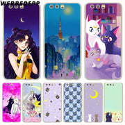 WEBBEDEPP Sailor Moon Luna And Arthemis Phone Case For Huawei P20 Pro Smart P10 P9 Lite 2016/2017 P8 Lite 2015/2017 Cover
