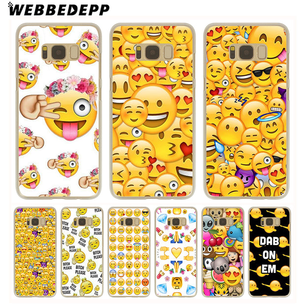 WEBBEDEPP Sale Emoji Hard Transparent Phone Case For Galaxy S6 S7 Edge S9 S8 Plus S5 S4 S3 Cover