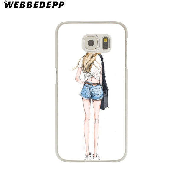 WEBBEDEPP Sexy Beautiful Girl Hard Transparent Phone Case For Galaxy S6 S7 Edge S9 S8 Plus S5 S4 S3 Cover