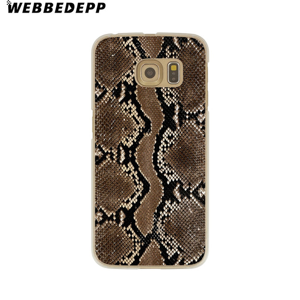 WEBBEDEPP Texture Skin Snake Hard Transparent Phone Case For Galaxy S6 S7 Edge S9 S8 Plus S5 S4 S3 Cover