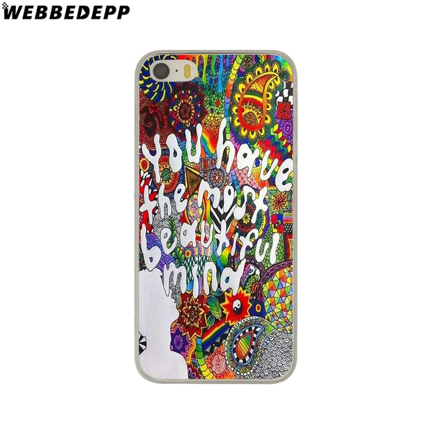 WEBBEDEPP Trippy Tie Dye Peace Sign Alien Hard Phone Case For IPhone X XS Max XR 7 8 6S Plus 5 5S SE 5C 4 4S Cover
