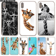 WEBBEDEPP Wear Glasses Giraffe Hard Phone Case For IPhone X XS Max XR 7 8 6S Plus 5 5S SE 5C 4 4S Cover