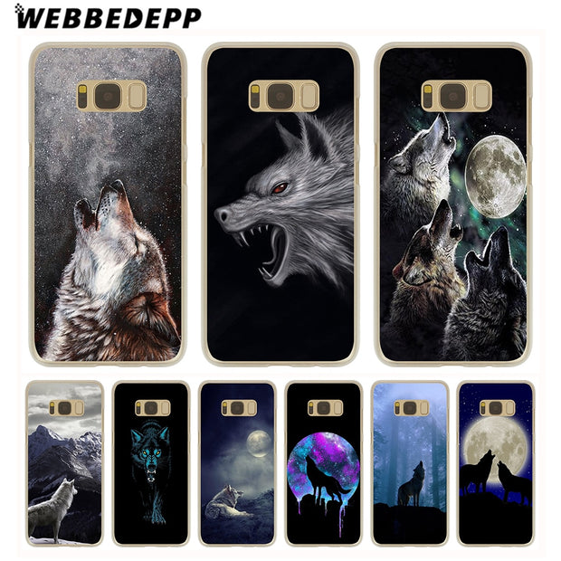 WEBBEDEPP Wolf Hard Transparent Phone Case For Galaxy S6 S7 Edge S9 S8 Plus S5 S4 S3 Cover