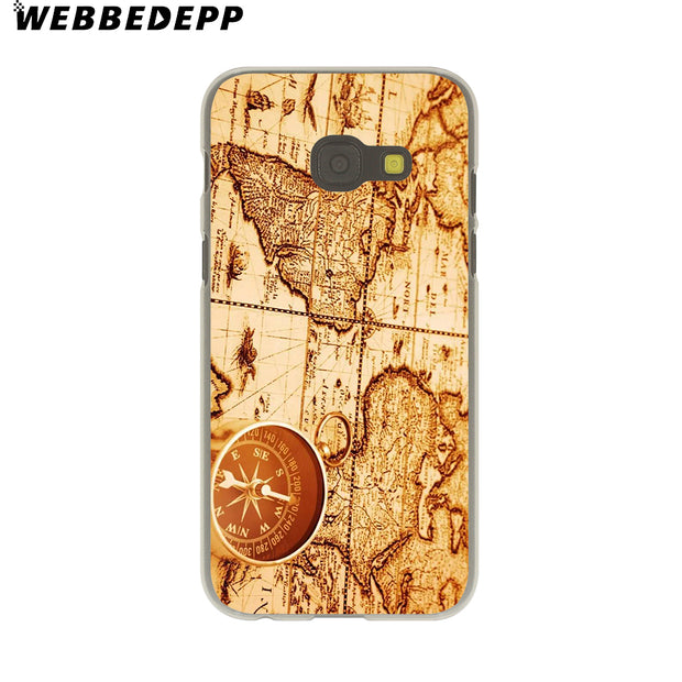 WEBBEDEPP World Map Travel Plans Hard Case For Galaxy A3 A5 2015 2016 2017 A6 A8 Plus 2018 Note 8 9 Grand Cover