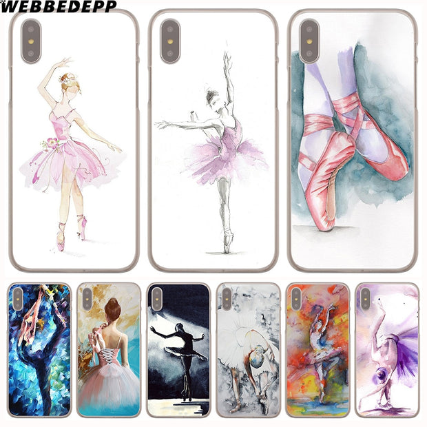 WEBBEDEPP Ballet Dancer Watercolor Painting Hard Phone Case For IPhone X XS Max XR 7 8 6S Plus 5 5S SE 5C 4 4S Cover