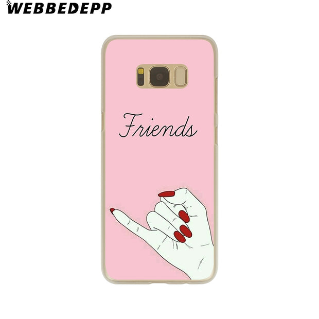 WEBBEDEPP Best Friend Forever Lovers Couple Hard Transparent Phone Case For Galaxy S6 S7 Edge S9 S8 Plus S5 S4 S3 Cover