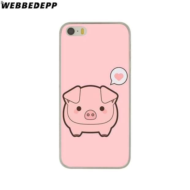 WEBBEDEPP Funny Cute Lovely Pig Hard Phone Case For IPhone X XS Max XR 7 8 6S Plus 5 5S SE 5C 4 4S Cover