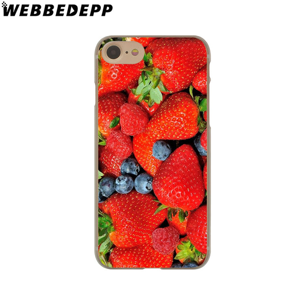 WEBBEDEPP Strawberry Hard Phone Case For IPhone X XS Max XR 7 8 6S Plus 5 5S SE 5C 4 4S Cover