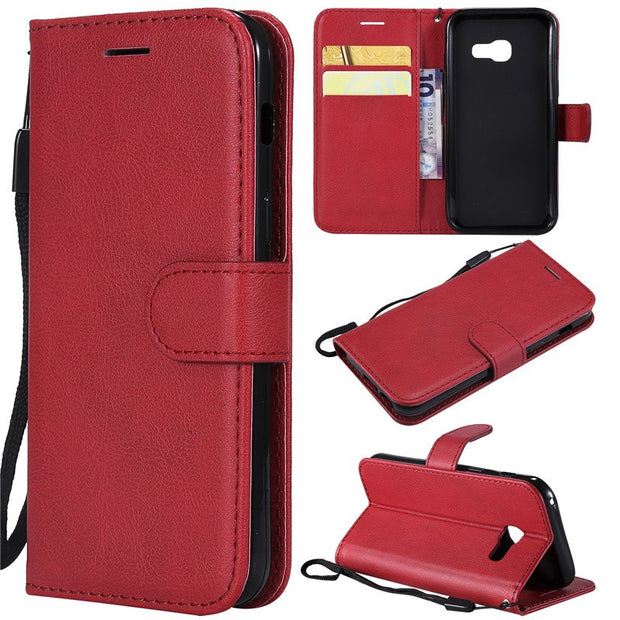 Wallet Case For Samsung Galaxy A3 2017 Flip Back Cover Pure Color PU Leather Mobile Phone Bags Coque Fundas For Galaxy A3 2017