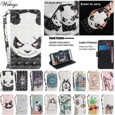 Wekays For Motorola E5 Plus Case Cute Cartoon Panda 3D Leather Flip Funda Case For Coque Motorola Moto E5 Plus Cover Cases Shell