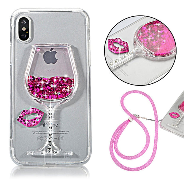 With Strap Liquid Quicksand Diamond Wine Glass Glitter Arcylic Glitter Back Soft TPU Case For Sony Xperia XA XA1 XZS C6 Ultra