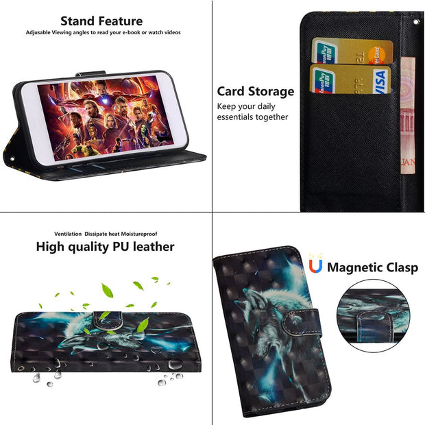 Wolf Flower Printing Case For BQ Aquaris X Pro U2 Lite VS Plus Stand Wallet PU Leather + Soft TPU For BQ X2 /X2 Pro Cover