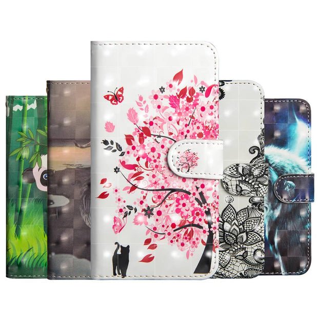 Wolf Flower Printing Case For Nokia 2.1 3.1 5.1 6.1 8.1 X6 X5 7 Plus Wallet Leather Soft TPU For Nokia 3 5 6 8 Sirocco Case