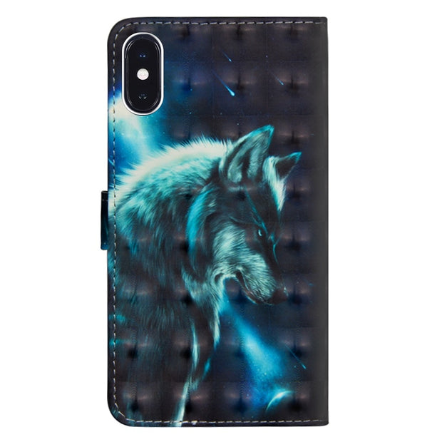 Wolf Flower Printing Case For IPhone XR XS Max 6 6S Plus 7 7 Plus Stand Wallet PU Leather + Soft TPU For IPhone 7 Plus Cover
