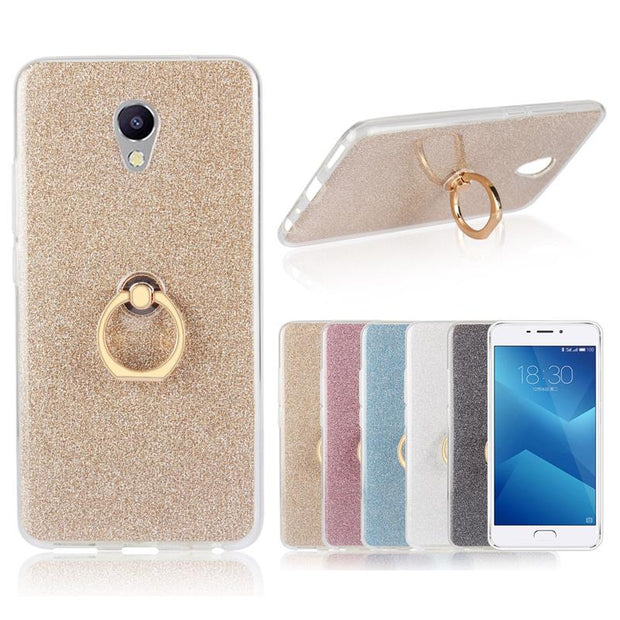 XSKEMP Glitter Powder Ultra Thin Soft TPU Phone Back Cover Ring Holder Stand Phone Case For Meizu Meilan Max 3 5 E M2 Note 2 3 5