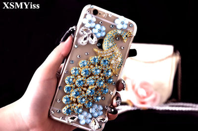 XSMYiss 3D Luxury Rhinestone Peacock Flower Diamond Soft Cover For Huawei Honor 8 9 Lite V8 V9 V10 7X For Nova 2 Plus 2S Cover